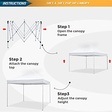 ASTEROUTDOOR 10'x10' Commercial 300 Denier Heavy Duty Pop Up Canopy with Adjustable Leg Heights Wheeled Carry Bag, Sa