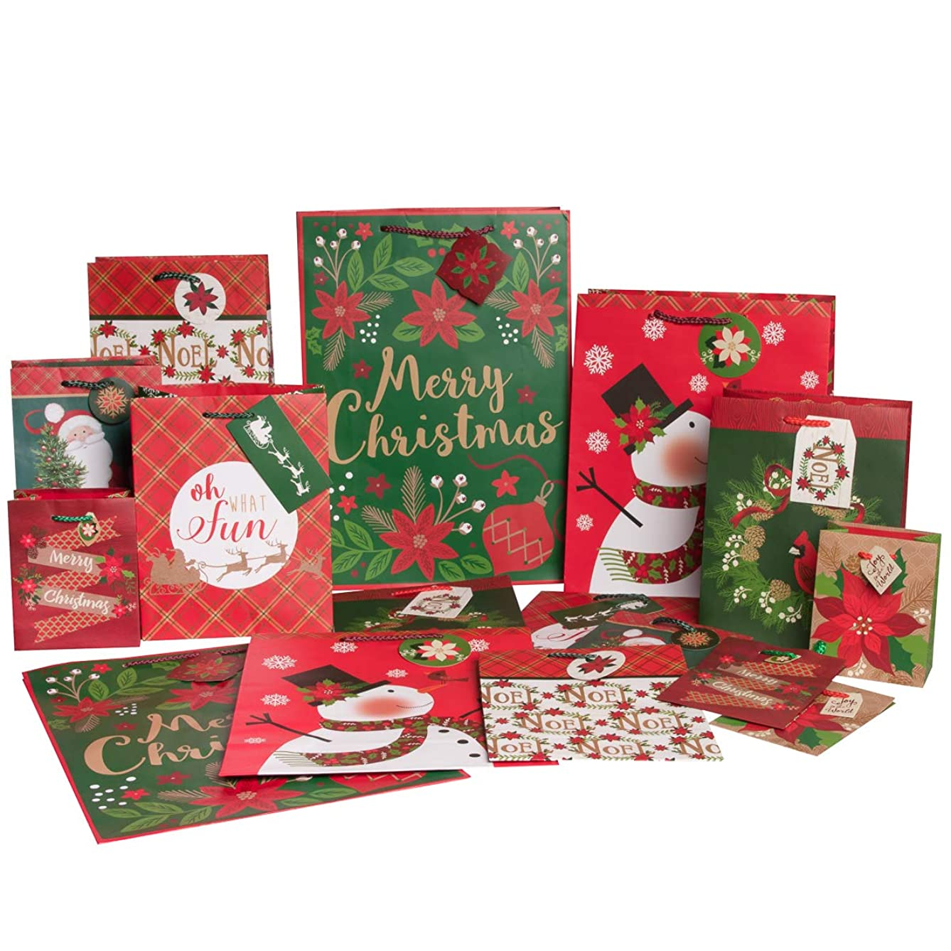 Paper Craft (16 Pack) Christmas Gift Bags, Holiday Gift Bags Bulk Set with Assorted Sizes For Gifts, Party Favors, Party Supplies