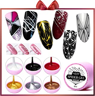 AZUREBEAUTY 6 Colors Spider Gel, Matrix Gel with Gel Paint Design Nail Art Wire Drawing Nail Gel for Line,Require LED UV Nail Dryer Lamp(White Black Red Gold Silver Champagne)