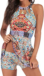 Women Tankini Bathing Suit Two Piece Bikini Set Skirt Tummy Control Swim Boxer Set for Ladies