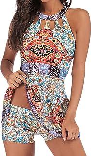 TWGONE Tankini Swimsuits for Women with Shorts Plus Size Boho Print Swim Jumpsuit Beachwear Padded Swimwear
