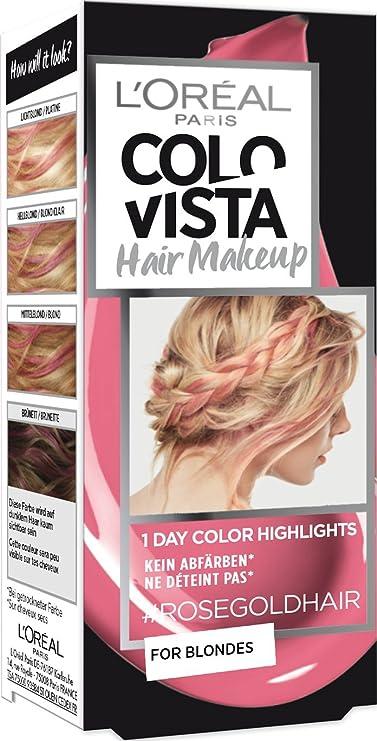 LOréal Paris Colovista - Maquillaje para el cabello, 1 día de color 9 pelo rosa intenso