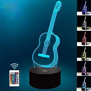 Lámpara de ilusión óptica 3D Lámpara de noche LED, lámpara de mesa de escritorio de 7 colores Luces de escultura de arte LED para niños con cable USB y control remoto - Regalos perfectos (guitarra)