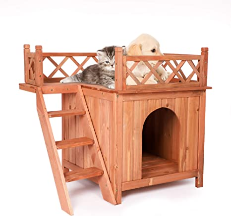 Amazon Com Koreyosh Wooden Dog House Indoor Outdoor Pet Puppy Room Kennel With Stairs Raised Roof And Balcony For Small Pets Pet Supplies
