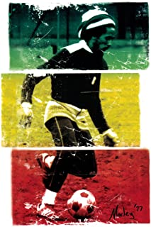 Zion Rootswear Bob Marley - Playing Soccer in 1977 - Rasta Colors - Sticker/Decal