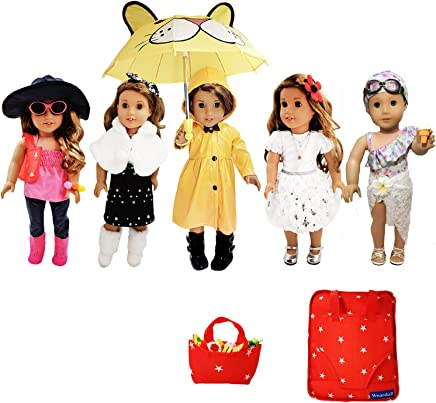 Weardoll 18 inch Doll Clothes Accessories, fits American Girl Doll, Our Generation and Journey Girls - 33 Pieces