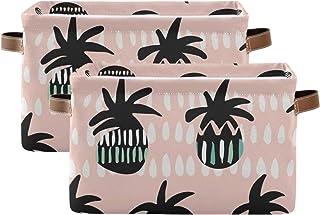 QMIN Panier de rangement Tribal Ananas Fruits Grandes boîtes de rangement Pliables Cubes Organisateur de Jouets Panier à L...