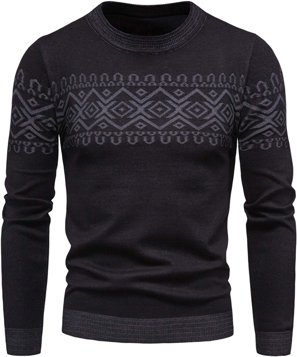 Capabes Men's Casual Pullover Sweater Autumn Knitwear Round Neck Long Sleeve