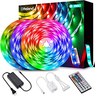 39.3ft LED Strip Lights, Elfeland 5050 RGB LED Light Strip Color Changing LED Strip Lights Flexible Strip Lights Kit with 44 Keys Remote & 12V 5A Power Supply for Home Kitchen Indoor Decoration