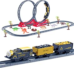 FunLittleToy 61 PCs Train Set with 46 Tracks, 1 Toy Train, 6 Dinosaur Toys, 6 Trees, 1 Dinosaur Egg and 1 Nest, Batteries Operated Toy Train Set with Light and Sound, Xmas Gifts for Boys & Girls