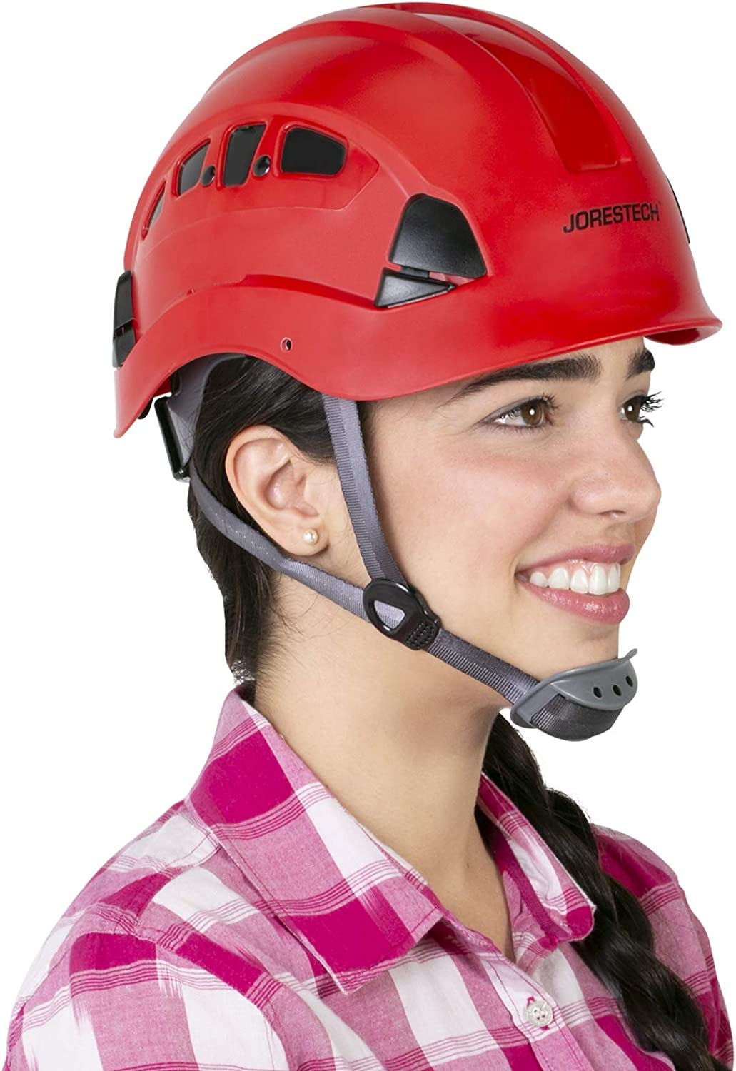 JORESTECH Hard Hat Red ABS Ven Super Ranking integrated 1st place Special SALE held Slotted Work-At-Height Rescue and