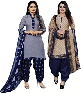 Rajnandini Women's Light Blue and Beige Cotton Printed Unstitched Salwar Suit Material (Combo Of 2) (Free Size)
