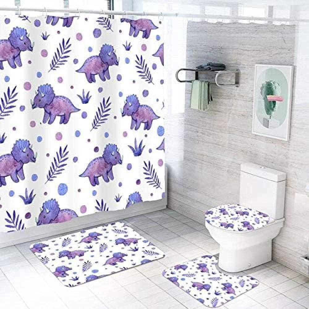 4 Piece Set of Cartoon Cheap bargain Shower Design Dinosaur Waterproof online shop Curtain