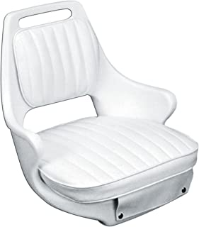 Moeller Heavy Duty Offshore Boat Helm Seat,  Cushion,  and Mounting Plate Set (23.5 x 21 x 18.5,  White)