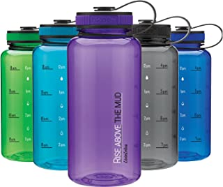 LivinLotus Wide Mouth 34oz Water Bottle - Rise Above Water Tracker for Hydration Tracking with Time Tracked by The Hour for Three Refills for Those That Need More Water (BPA Free)