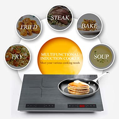 GTKZW Portable Double Induction Cooktop,2000W 120V Energy-saving Electric Cooktop with Sensor Touch Screen Control and Kids S