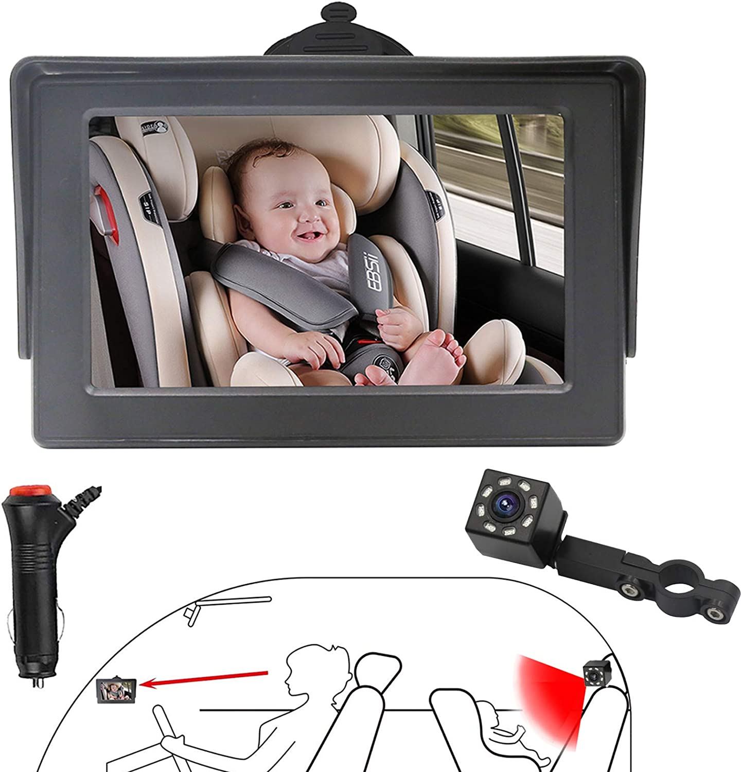 B-Qtech Car Baby Camera for Back Seat Rear Facing View Infant, 4.3 inch Night Vision Monitor Anti-shake Camera 360°Adjustable Easy Observe and Install