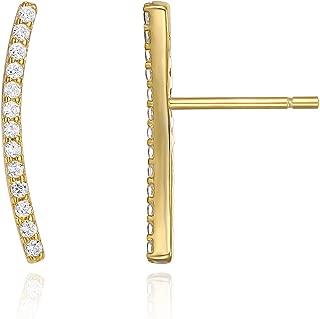 14K Gold Plated Ear Crawler - Cuff Earrings Hypoallergenic Sterling Silver Stud Ear Climber Jackets