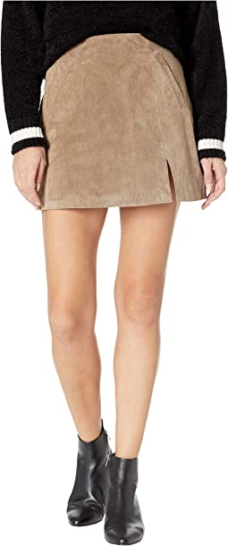 Real Suede Mini Skirt in French Taupe