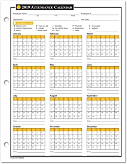 2020 Attendance Calendar - 50 Sheets/Package - On Cardstock Paper