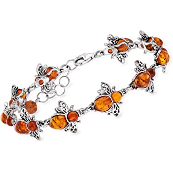 Ross-Simons Sterling Silver Matching Amber Bumble Bee Earrings Necklaces and Bracelets for Women