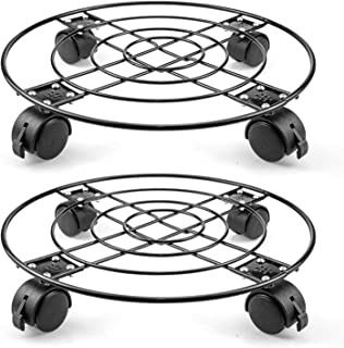 Fasmov 2 Pack 13 inches Plant Caddy Heavy Duty Iron Potted Plant Stand with Wheels Indoor Outdoor Tool