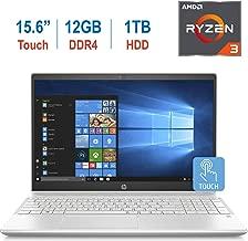HP 15.6-inch Touchscreen HD WLED-Backlit Display Laptop PC, AMD Ryzen 3 2200U up to 3.4GHz Processor, 12GB DDR4, 1TB HDD, AMD Radeon Vega 3 Graphics, Webcam, Bluetooth, HDMI, B&O Play, Windows 10
