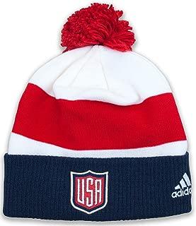 USA World Cup of Hockey Adidas 2016 Player Cuffed Pom Knit Hat