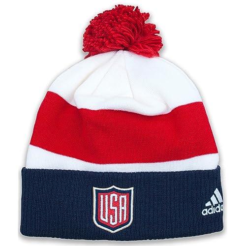 aa33245da13 USA World Cup of Hockey Adidas 2016 Player Cuffed Pom Knit Hat