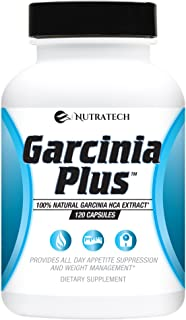 Garcinia Plus- 100% Pure and Natural Organic Garcinia Cambogia Diet Pills (No Synthetics) with HCA Appetite Suppressant and Weight Loss Aid. 120 Count.