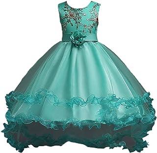 BODYA 子供ドレス 女の子 スパンコール 刺繍フリル 結婚式 花嫁介添人 ドレス