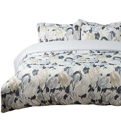 Duvet Cover /& 2 Pillow Shams Set 3D Effect Spring Tulip Quilted Fitted Sheet