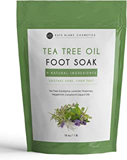 Tea Tree Oil Foot Soak With Epsom Salt by Kate Blanc. Relaxing and Therapeutic. Smells Wonderful. Soothes Tired, Achy Feet. Soften Rough Calluses. Remove Feet Odor. 1-Year Guarantee. Big Bag (16 oz)