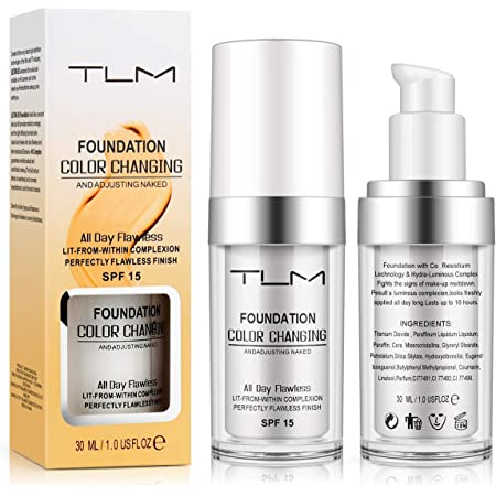 TLM Flawless Colour Changing liquid Foundation, Replenishing Cosmetic, Lightweight,Avashine Liquid Foundation, Concealer Cover Cream,Warm Skin Tone Foundation,Sunscreen,SPF 15,BB Cream Makeup