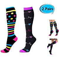 Compression Socks for Women 2 Pairs, Knee High Stretchable Stockings