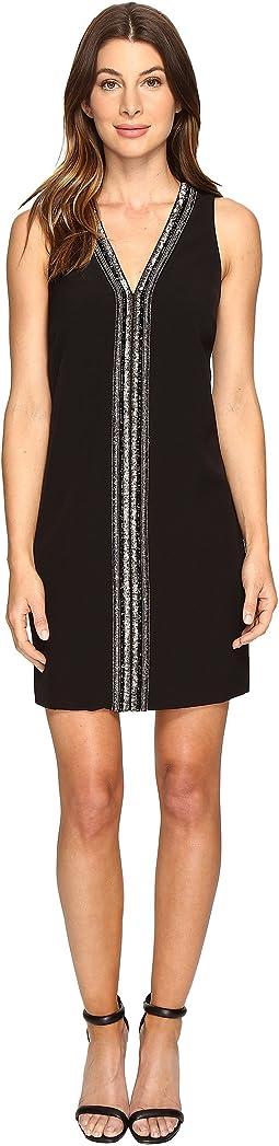 Sleeveless Beaded V-Neck Dress