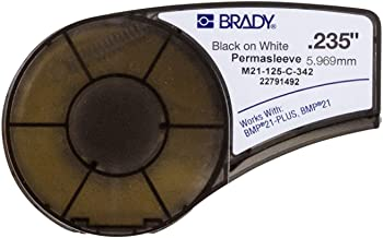 Brady PermaSleeve Heat-Shrink Polyolefin Wire Marking Sleeves (M21-125-C-342) - Black on White Sleeves - Compatible with BMP21 and BMP21-PLUS Label Printers - 7' Length, 0.235