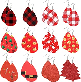 Christmas Plaid Earrings for Women Girls Red Leather Earrings Teardrop Lightweight Petal Leather Earrings Christmas Decoration 12 Pairs