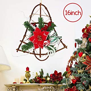 16inch Christmas Grapevine Wreath Hanger for Front Door, Jingle Bell Shape Garland Poinsettia with Red Berries Glitter Ornaments for Home Party Decoration Holiday Winter Gift
