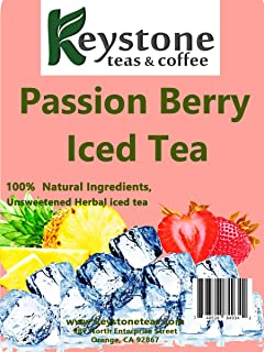 Passion Berry Iced Tea – Unsweetened Herbal iced tea Pouches, Passion Berry flavor, Filter tea bags yield 3 gallons by Keystoneteas