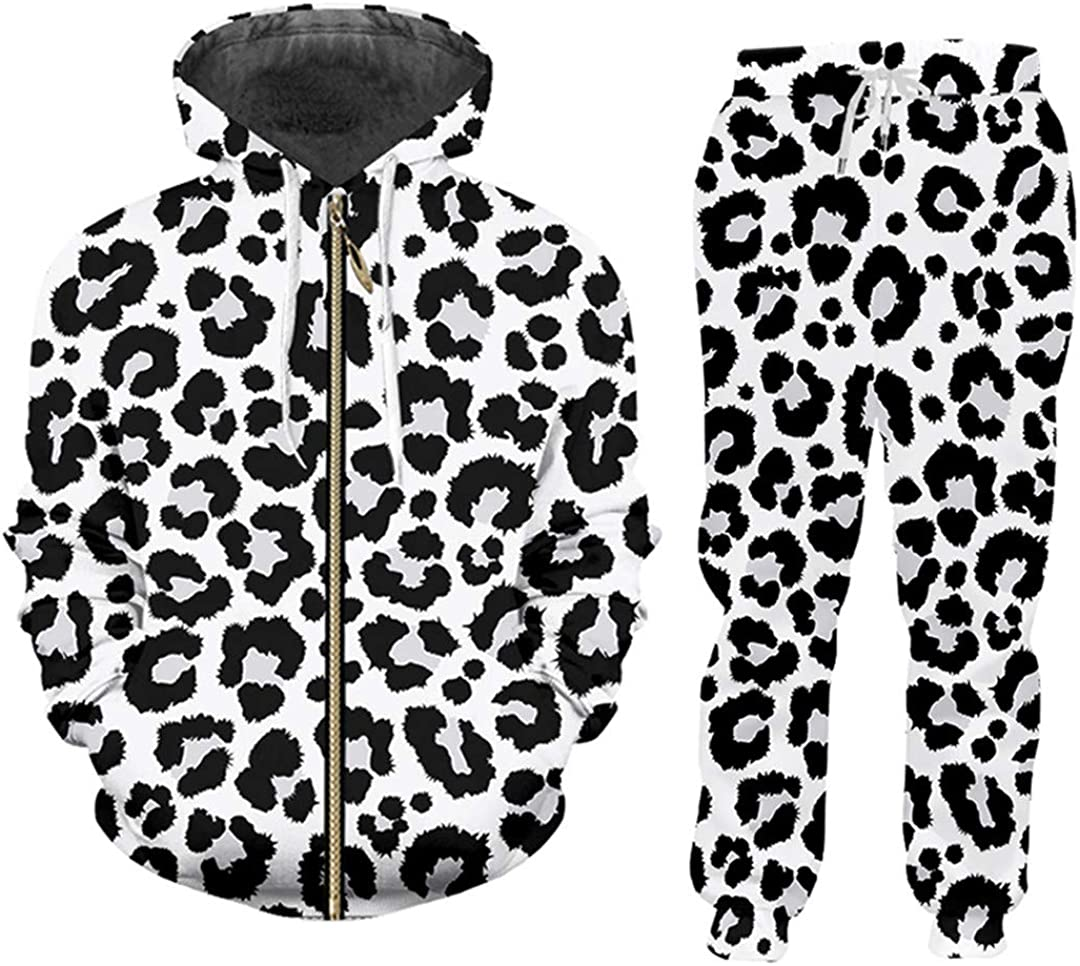 Snow Leopard 2-Piece Max Easy-to-use 88% OFF Suit 3D Tracksuit Man Printed