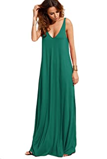 ee1bba0f51e Verdusa Women s Casual Sleeveless Deep V Neck Summer Beach Maxi Long Dress