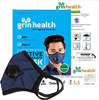 Grin Health N99 Anti Pollution Mask with 6 layer filters active carbon & valve (Dark Blue; L)