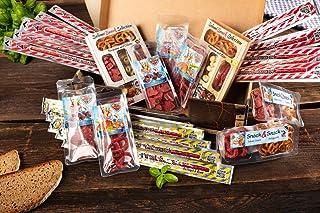 WURSTBARON - Wurst Geschenk Koffer - mit 24 besondere Salami und Wurst Snacks - Brezen, Herzen, Sterne, Pikanten und vieles mehr - 790 g