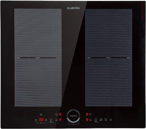 KLARSTEIN Delicatessa 60 - Table de cuisson à induction, 7000 W (2 x 2000 W & 2 x 1500 W), 4 foyers : chacun 19,5 x 1...