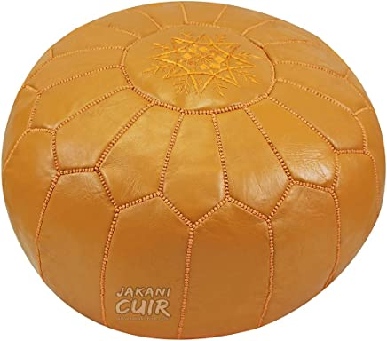 JAKANI Cuir Moroccan Pouf, Genuine Goatskin Leather,  Ottoman Footstool,  Leather Poof, 100% Handmade Leather Poof,  Foot Stool,  Mustard Color,  Unstuffed