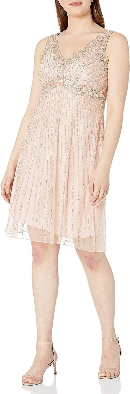 J Kara Women's V-Neck Short Cocktail Sleeveless Beaded Dress