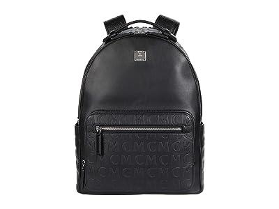 MCM 40 Stark Monogram Leather Backpack (Black) Backpack Bags