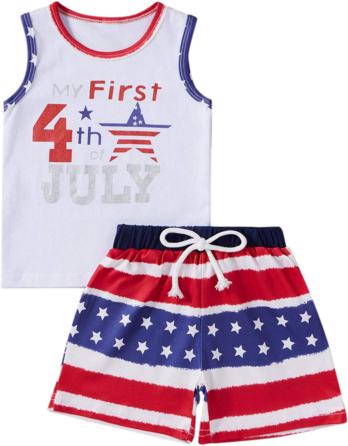 Hekkomird Newborn Baby Boys Girls My First 4th of July Outfits Flag Stars Stripes Shorts Set Independence Day Clothes