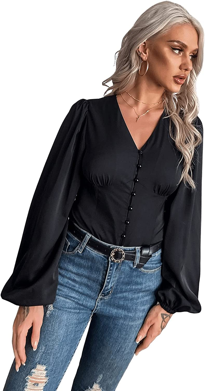 MakeMeChic Women's Casual V Neck Bishop Sleeve Blouse Crop Tops Button Down Shirt